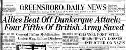Front page headline: Allies Beat Off Dunkerque Attack