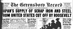 Front page headline: Japan's Supply of Scrap Iron