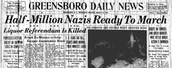 Front page headline: Half Million Nazis Ready to March