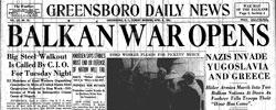 Front page headline: Balkan War Opens