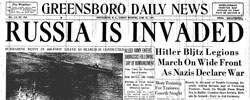 Front page headline: Russia is Invaded