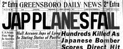Front page headline: Jap Planes Fail