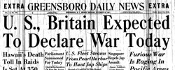 Front page headline: US, Britain Expected to Declare War Today