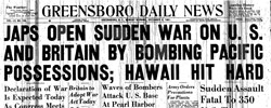 Front page headline: Japs Open Suddden War on US
