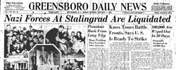 Front page headline: Nazi Forces at Stalingrad are Liquidated