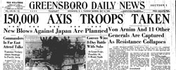Front page headline: 150,000 Axis Troops Taken