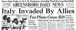Front page headline: Italy Invaded by Allies
