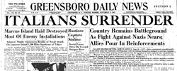 Front page headline: Italians Surrender