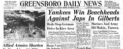 Front page headline: Yankees win Beachheads