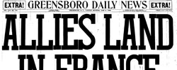 Front page headline: Allies Land in France