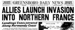 Front page headline: Allies Launch Invasion