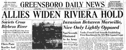 Front page headline: Allies Widen Riviera Hold