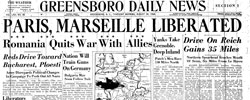 Front page headline: Paris, Marseille Liberated
