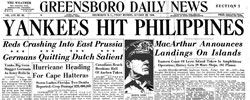 Front page headline: Yanks Hit Philippines