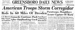 Front page headline: American Troops Storm Corregidor
