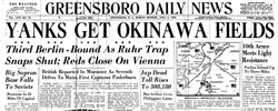 Front page headline: Yanks get Okinawa Fields