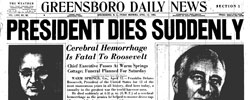 Front page headline: President Dies Suddenly