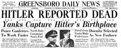 Front page headline: Hitler Reported Dead