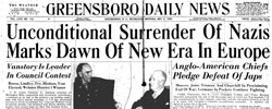 Front page headline: Unconditional Surrender of Nazis