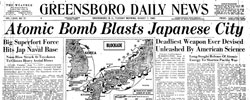Front page headline: Atomic Bomb Blasts Japanese City
