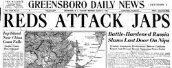 Front page headline: Reds Attack Japs