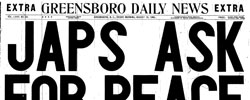 Front page headline: Japs Ask for Peace