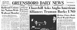Front page headline: Churchill Asks Anglo-American Alliance