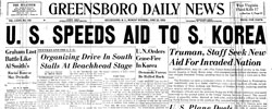Front page headline: US to Speed Aid to S. Korea