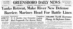 Front page headline: Yanks Retreat, Make River New Defense