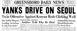 Front page headline: Yanks Drive on Seoul