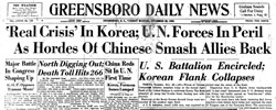 Front page headline: Real Crisis in Korea