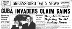 Front page headline: Cuba Invaders Claim Gains