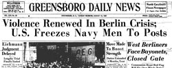 Front page headline: Violence Renewed in Berlin Crisis