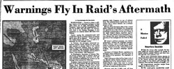 Front page headline: Warnings Fly in Raid's Aftermath