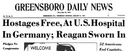 Front page headline: Hostages Free