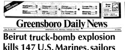 Front page headline: Beirut Truck Bomb Explosion