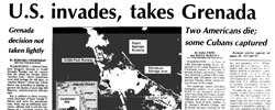Front page headline: US Invades, Takes Grenada