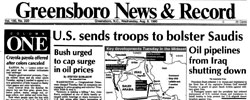 Front page headline: US Sends Troops to bolster Saudis