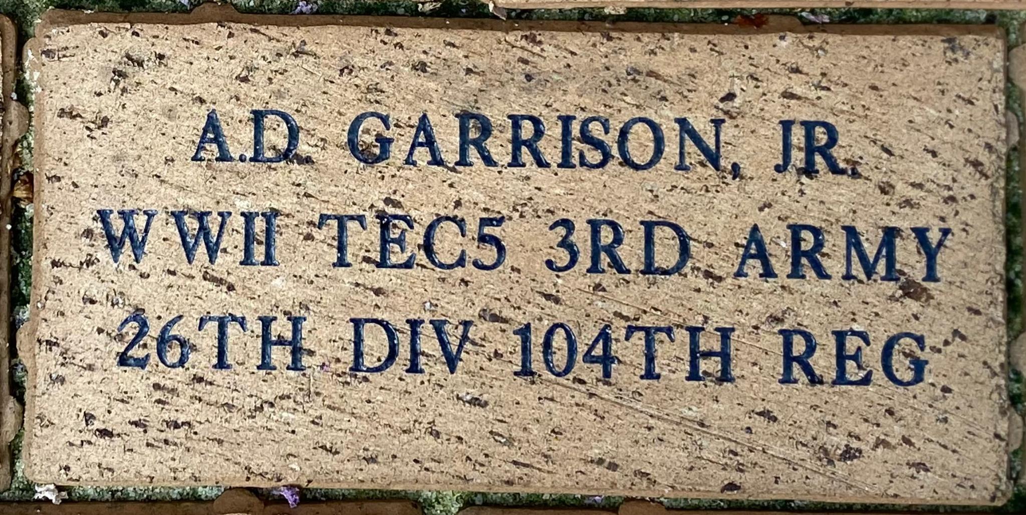 A.D. GARRISON, JR WWII TEC5 3RD ARMY 26TH DIV 104TH REG