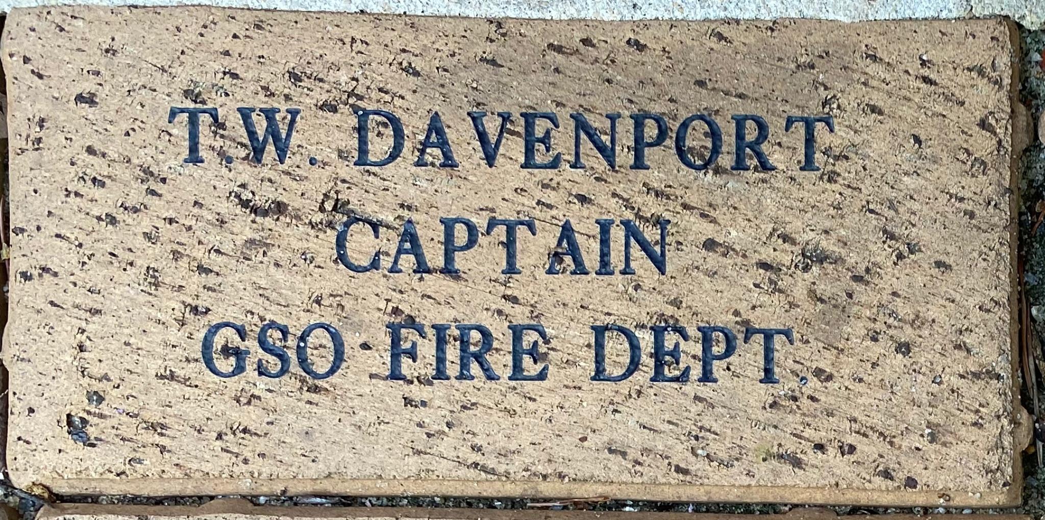 T.W. DAVENPORT CAPTAIN GSO FIRE DEPT.