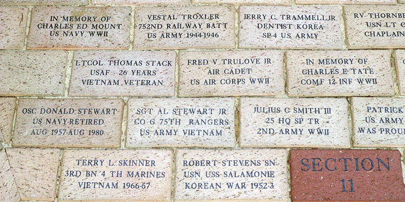Guilford County Veterans Memorial Engraved Bricks