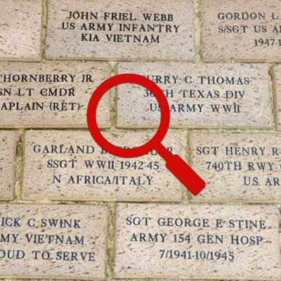 Search for a brick at the Guilford County Veterans Memorial