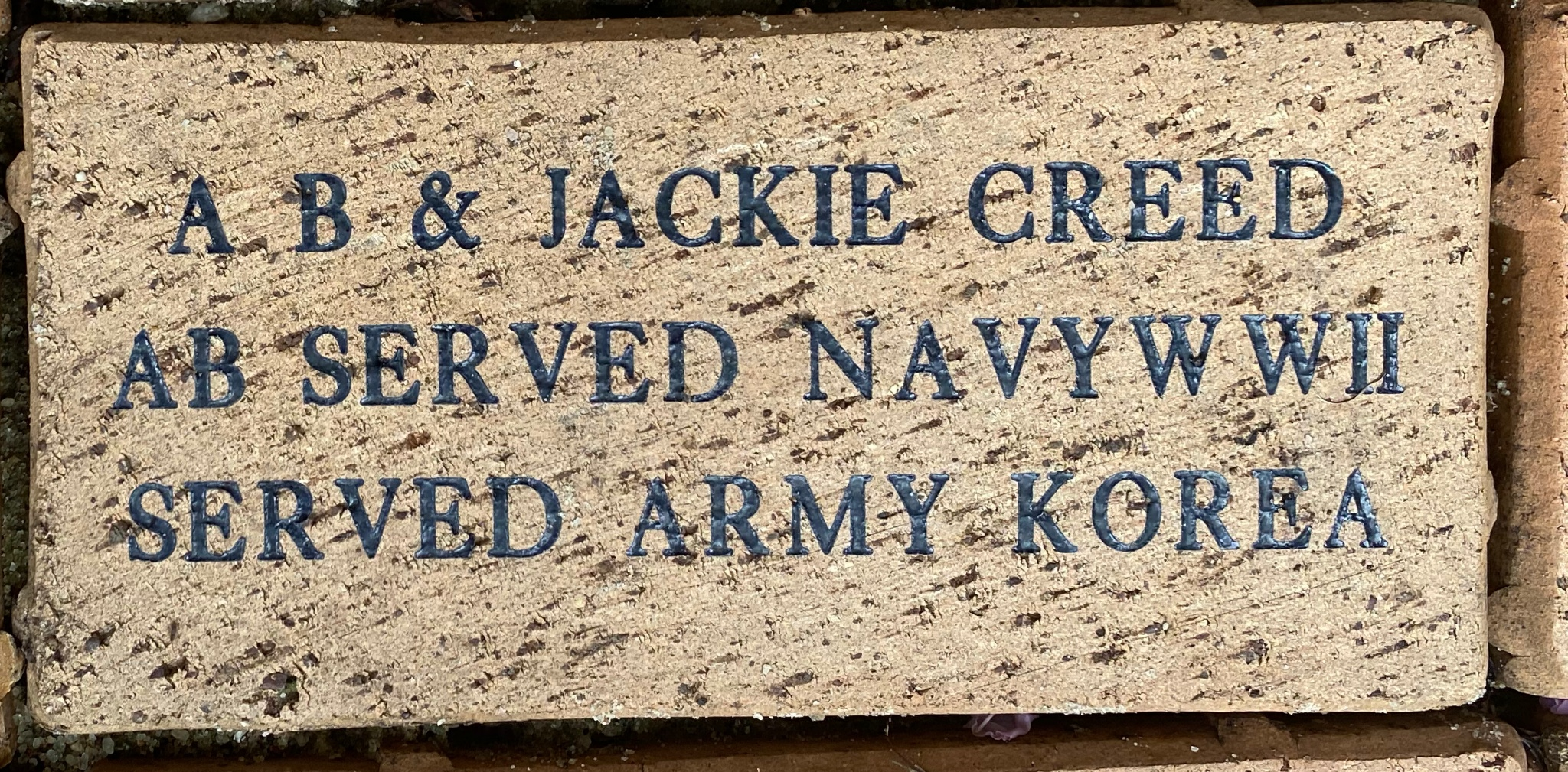 A.B. & JACKIE CREED AB SERVED NAVY WWII SERVED ARMY KOREA