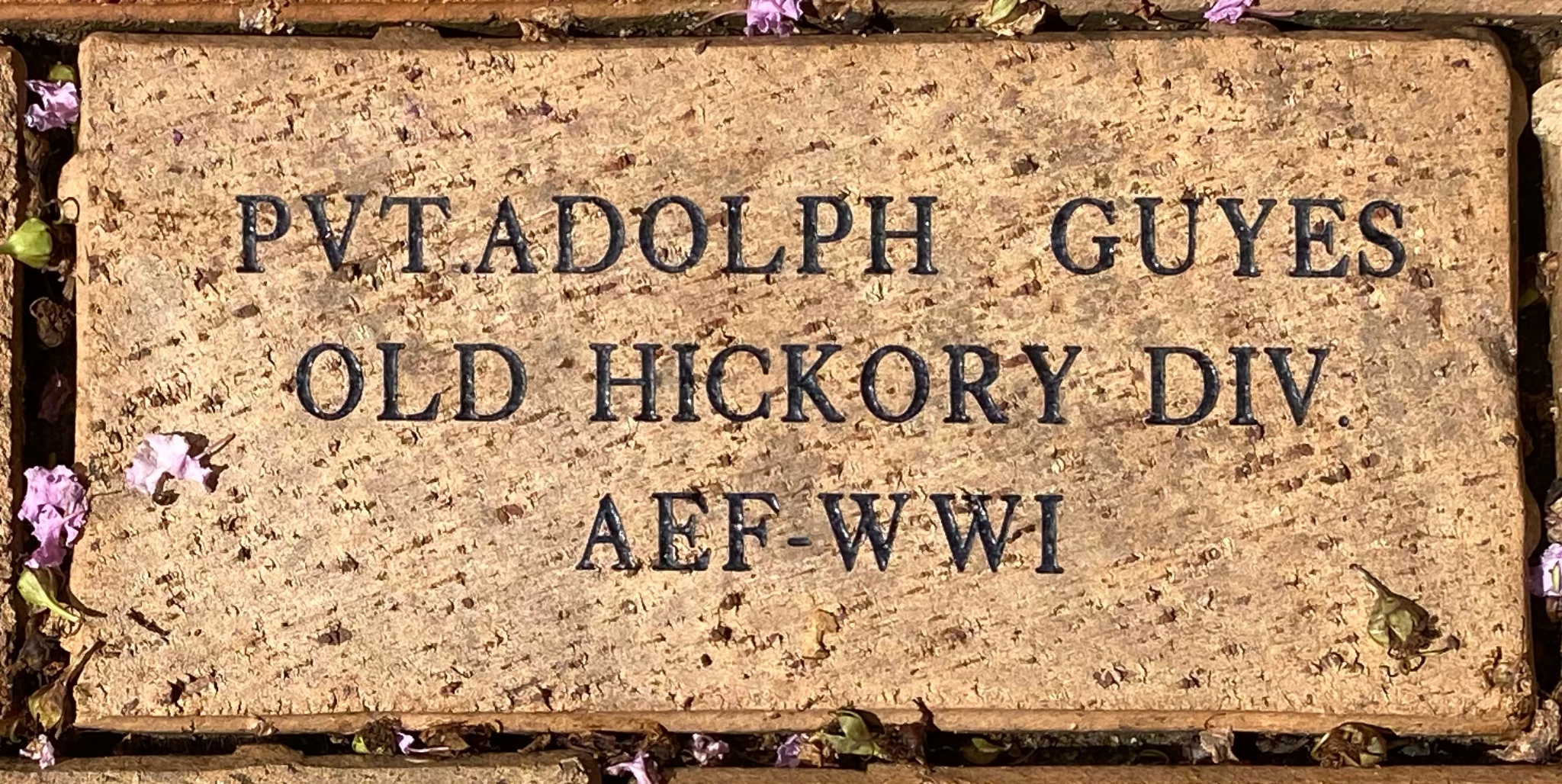 PVT. ADOLPH GUYES OLD HICKORY DIV. AEF – WWI