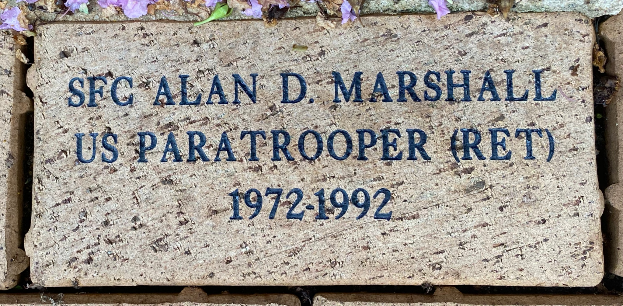 SFC ALAN D. MARSHALL US PARATROOPER (RET) 1972-1992