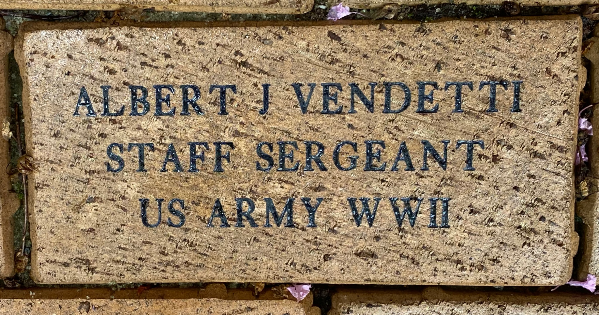 ALBERT J VENDETTI STAFF SERGEANT US ARMY WWII