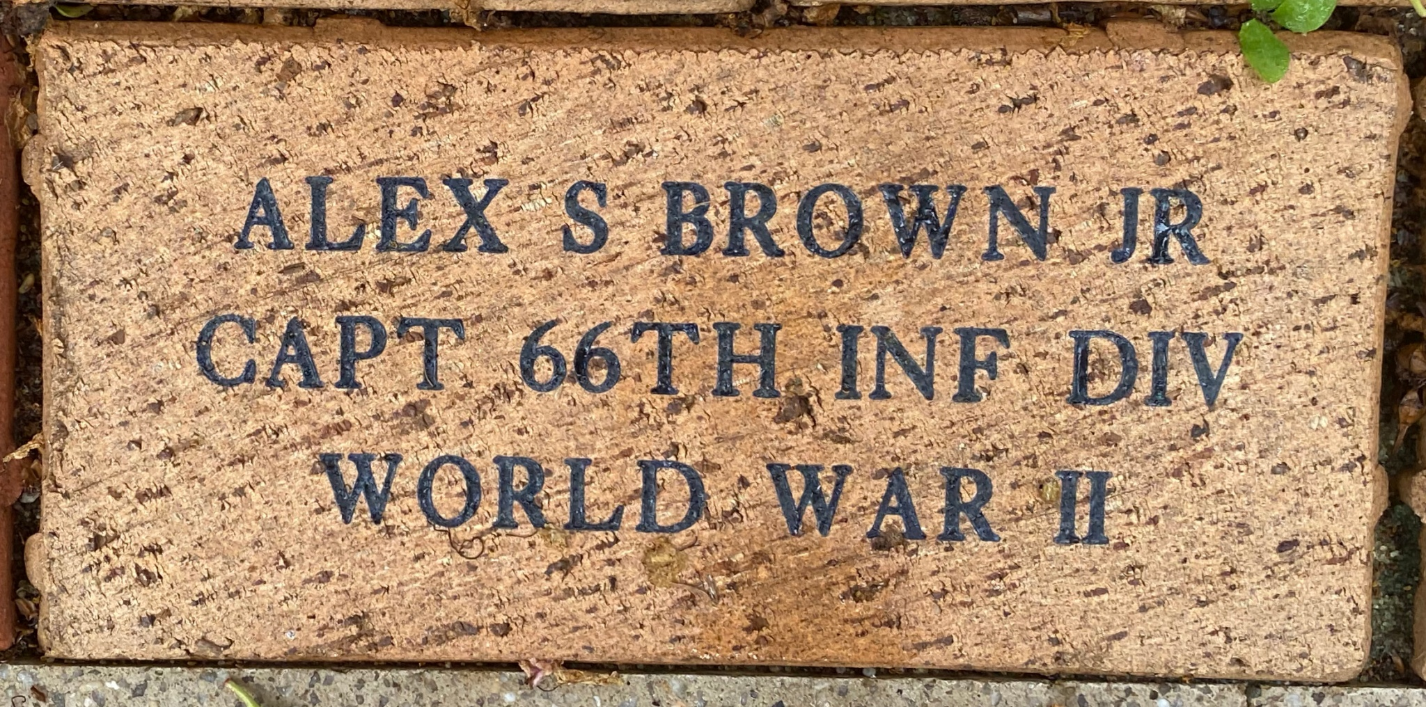 ALEX S BROWN JR CAPT 66TH INF DIV WORLD WAR II