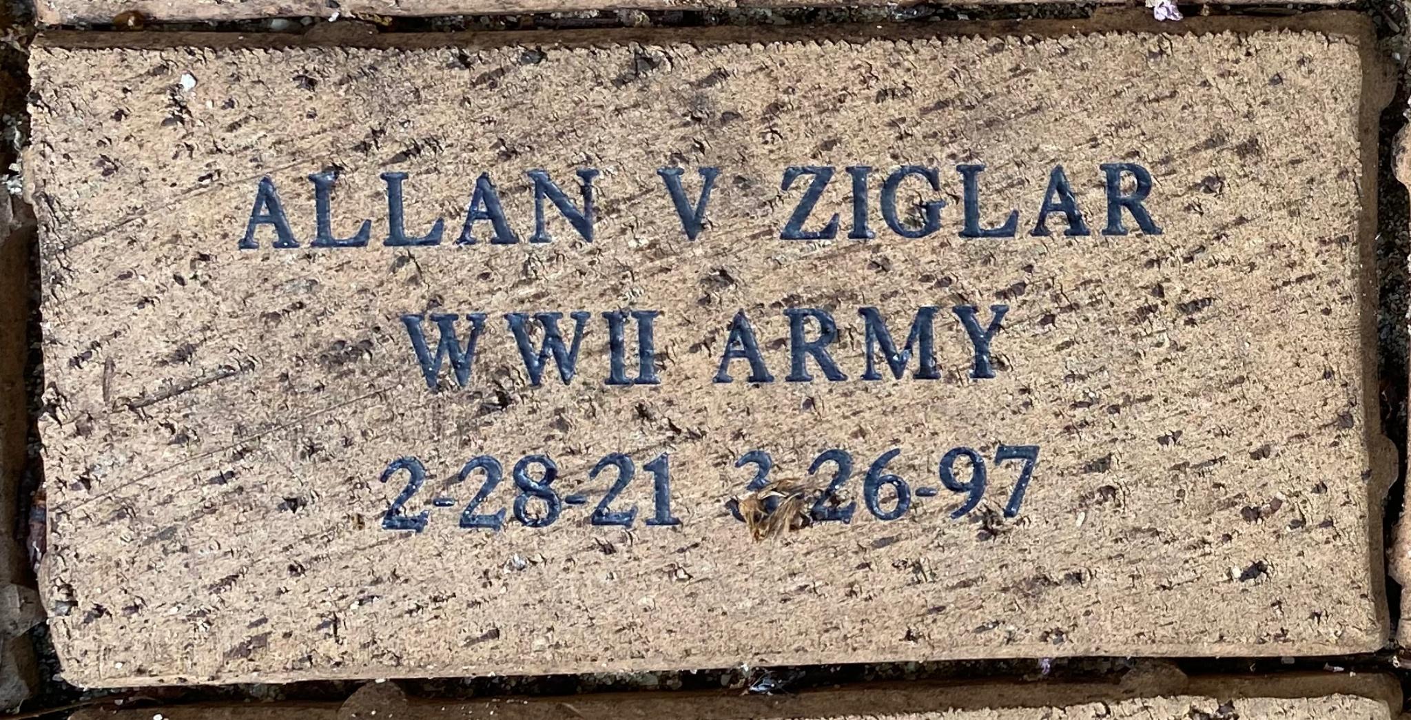 ALLAN V ZIGLAR WWII ARMY 2-28-21 3-26-97