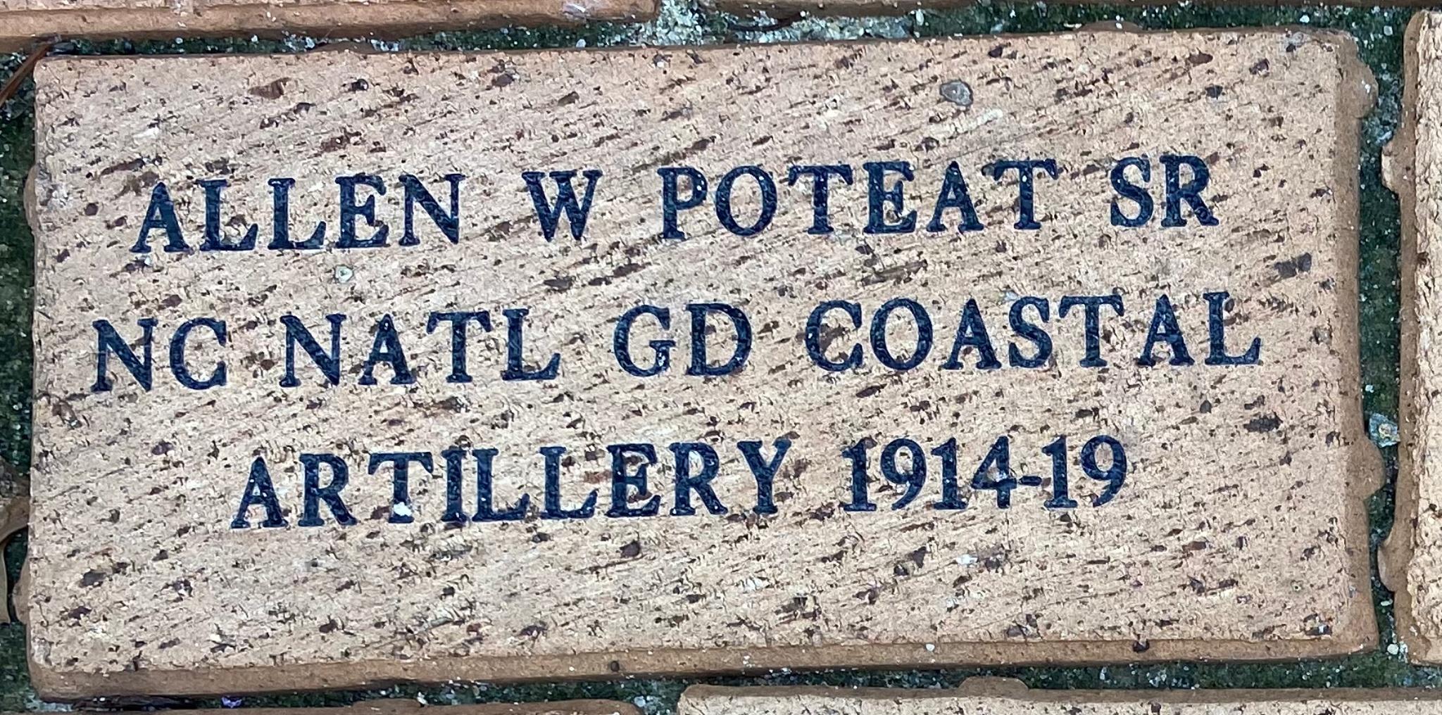 ALLEN W POTEAT SR NC NATL GD COASTAL ARTILLERY 1914-19