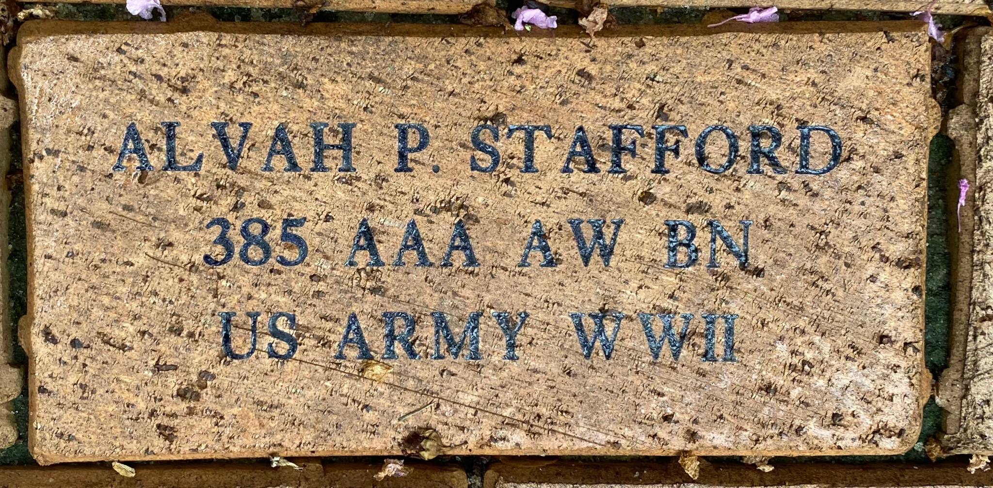 ALVAH P. STAFFORD 385 AAA AW BN US ARMY WWII